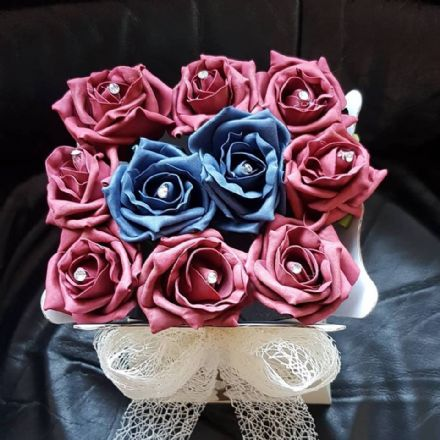 Rose Box Burgundy & Navy Blue with Cream Deco Mesh Bow